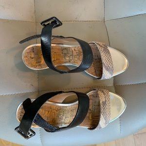 Sam Edelman Sutton Black/white snakeskin Sandals